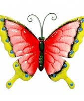 Decoratie vlinder roze geel 30 cm trend