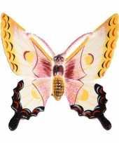 Decoratie vlinder wit geel 11 cm kunststof trend
