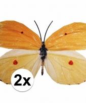 Decoratie vlinders 2 stuks geel oranje 30 x 25 cm trend