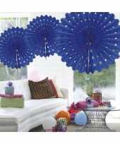 Decoratie waaier blauw 45 cm trend