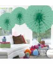 Decoratie waaier mint groen 45 cm trend
