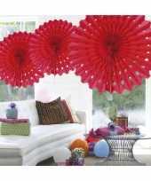 Decoratie waaier rood 45 cm trend