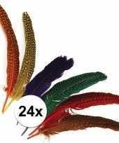 Decoratieve veren met stippen 24 stuks trend