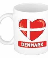 Deense vlag hartje theebeker 300 ml trend