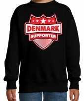 Denemarken denmark schild supporter sweater zwart voor kinder trend