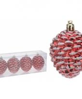 Dennenappel kerstbal rood 4 stuks trend