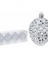 Dennenappel kerstbal zilver 4 stuks trend