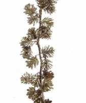 Dennentak kunstplant 120 cm goud met dennenappels trend