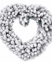 Deur decoratie kerstkrans hart besneeuwd 50 cm trend
