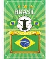 Deurposter brazilie met vlag trend
