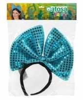 Diadeem grote blauwe strik met pailletten voor dames trend