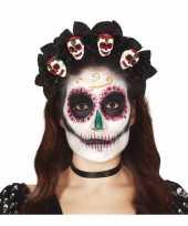 Diadeem tiara met rozen en schedels voor dames trend
