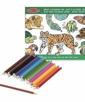 Dieren kleurboek met kleurpotloden set trend
