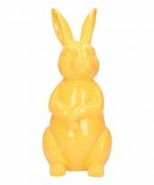 Dierenbeeld haas konijn geel 30 cm trend