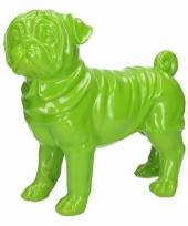 Dierenbeeld mopshond groen 30 cm trend