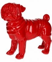 Dierenbeeld mopshond rood 30 cm trend