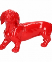 Dierenbeeld teckel hond rood 29 cm trend
