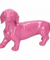 Dierenbeeld teckel hond roze 29 cm trend