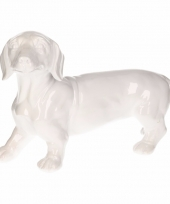 Dierenbeeld teckel hond wit 29 cm trend