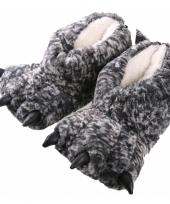 Dierenpoot sloffen grijs monsterpoten trend