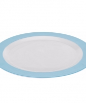 Diner bord plat melamine wit met blauwe rand 26 cm trend
