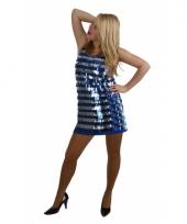 Disco outfit kort blauw en zilver met pailletten trend