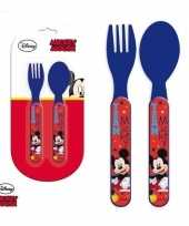 Disney mickey mouse kinderbestek vork met lepel 14 cm trend