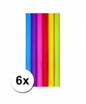 Diverse kleuren kadopapier 6 rollen trend