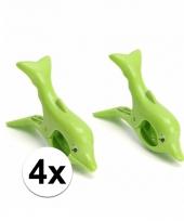 Dolfijnen handdoeken knijpers groen 4 stuks trend