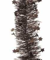 Donker bruine kerstversiering folie slinger met ster 270 cm trend