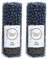 Donkerblauwe kralenslinger kerstslinger 10 mtr 2 stuks trend