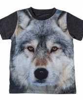 Donkergrijs t-shirt met wolf voor kinderen trend