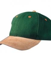Donkergroene 6 panel cap met suede look trend
