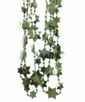 Donkergroene sterren kralenslinger kerstslinger 270 cm 3 stuks trend