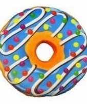 Donut kussen sprinkels blauw 38 cm trend