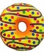 Donut kussen sprinkels geel 38 cm trend