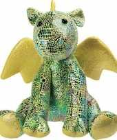 Draken speelgoed artikelen draak knuffelbeest groen 23 cm trend