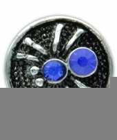 Drukknoop blauw spinnetje voor chunk sieraad 1 8 cm trend