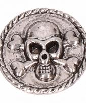 Drukknoop met doodshoofd zilver 1 8 cm trend