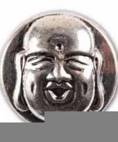Drukknoop met een boeddha zilver 1 8 cm trend