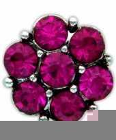 Drukknoop roze steentjes voor chunk sieraad 1 8 cm trend
