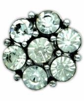 Drukknoop witte steentjes voor chunk sieraad 1 8 cm trend