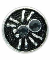 Drukknoop zwart spinnetje voor chunk sieraad 1 8 cm trend