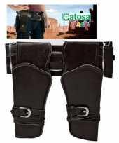 Dubbele cowboy holster donkerbruin met brede riem verkleed acces trend