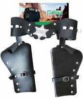 Dubbele sheriff cowboy holsters verkleed accessoire trend
