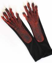 Duivel verkleedaccessoires handschoenen trend