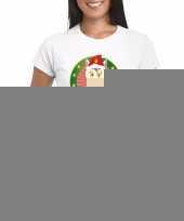 Eenhoorn kerst t-shirt wit merry christmas voor dames trend