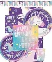 Eenhoorn themafeest kinderfeestje decoratie pakket 8 personen trend