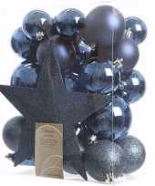 Elegant christmas kerstboom decoratie set blauw 33 delig trend