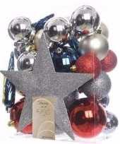 Elegant christmas kerstboom decoratie set zilver rood 33 delig trend